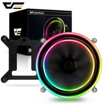 darkFlash Shadow PWM CPU Cooler AURA SYNC Cooling Double Ring LED Fan 100mm 3pin+4pin Radiator for LGA 1156/1155/775 TDP 280W
