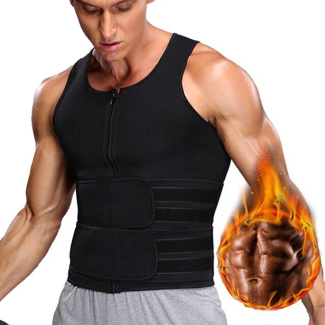 Men Body Shaper Sauna Vest Waist Trainer Zip Double Belt Sweat Shirt Corset Top Abdomen Slimming Shapewear Fat Burn Fitness Top