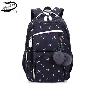 Image 1 - FengDong cute school bags for teenage girls korean style school backpack for girls fur ball decoration children bag girl gift
