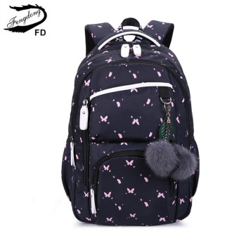 FengDong cute school bags for teenage girls korean style backpack fur ball decoration children bag girl gift - discount item  63% OFF School Bags