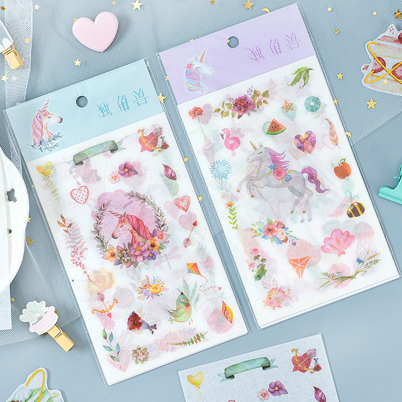 6 Pcs/pack Pink Blue Garland Unicorn Bullet Journal Decorative Stickers Scrapbooking Stick Label Diary Stationery Album Stickers