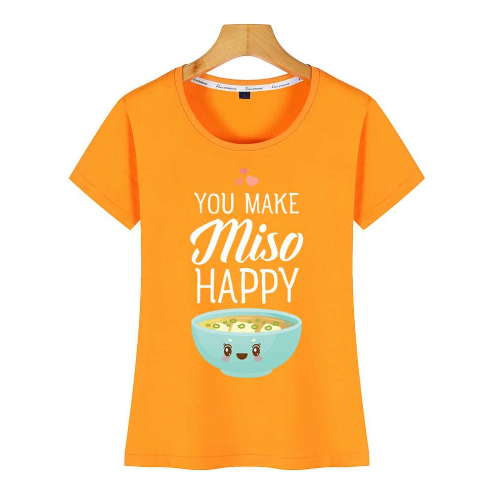 Topy T Shirt kobiety robisz miso happy Hip-Hop Vintage krótka koszulka damska