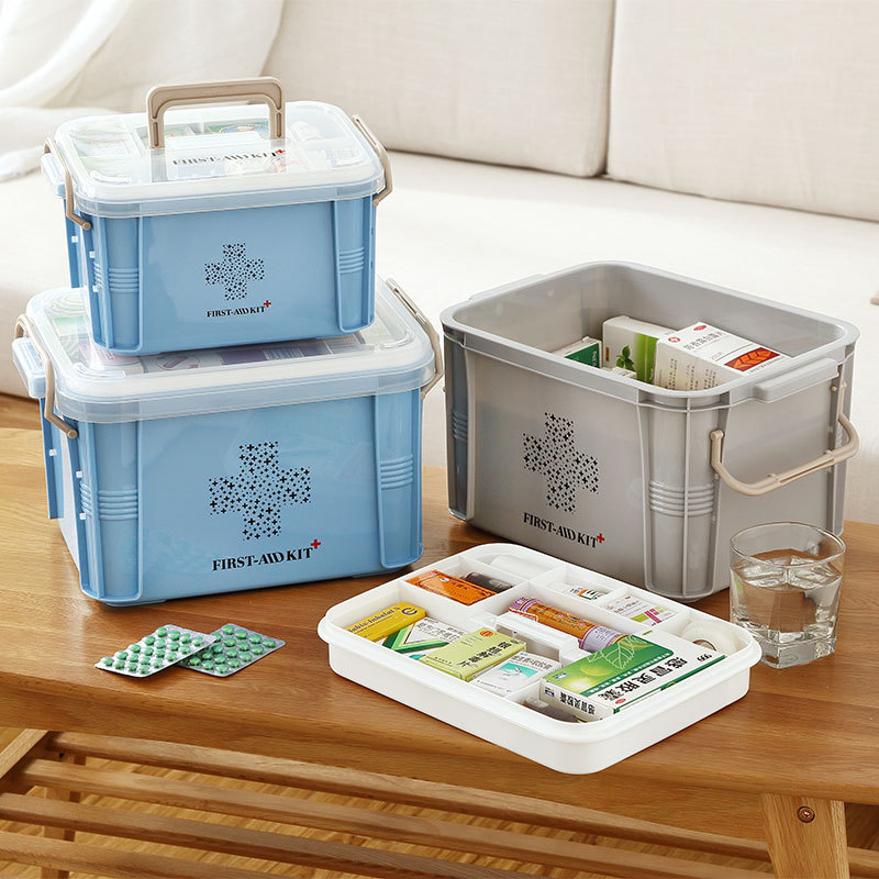 Family Children's Baby Small Medicine Home Large Medical First Aid Box Medical Emergency Medicine Box Gray
