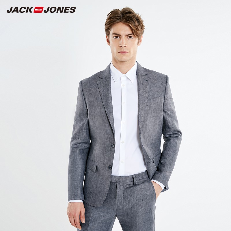 JackJones Men's New Arrival Slim Fit Linen Breathable Blazer Menswear Style| 219172510