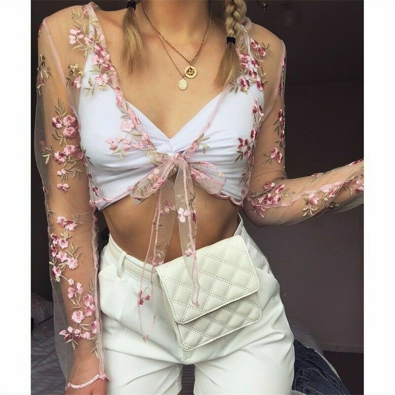 Women Floral Embroidery Top Mesh Sheer See-through T Shirt Long Sleeve Crop Top Shirt V Neck T-Shirts