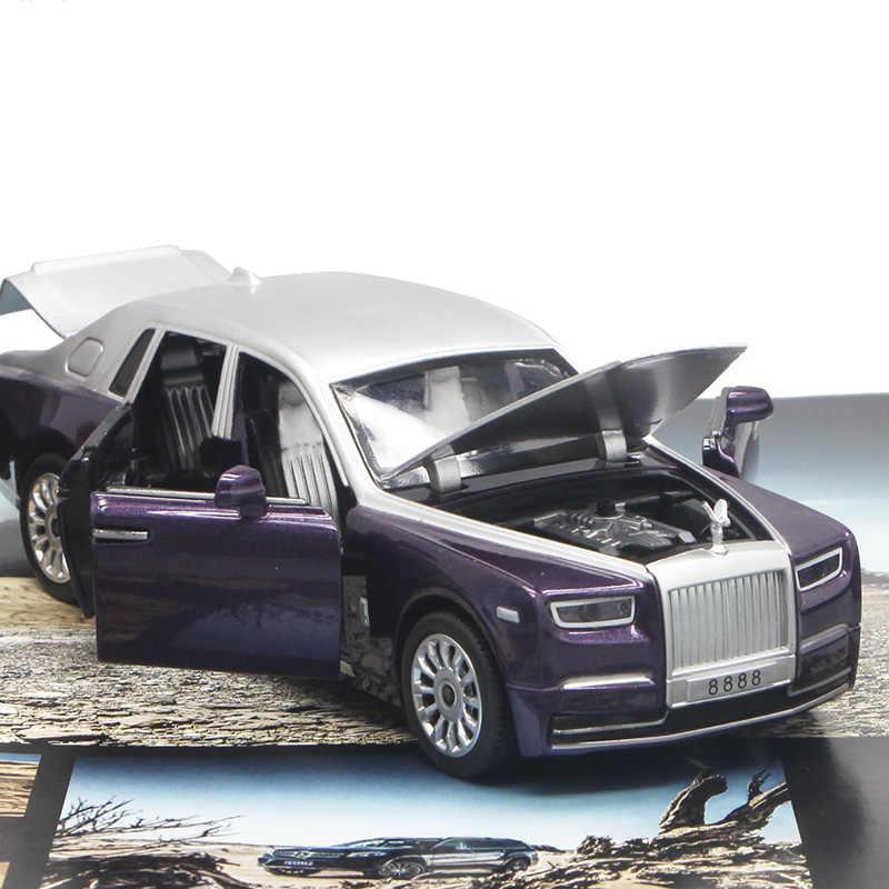 Rouleaux 1:30 diecast-modèle de voiture royce, échelle fantôme, avec son du moteur, avec fonction de retrait, cadeau pour enfants