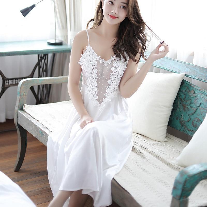 Long Womens Nightgowns Satin Night Dress Elegant Nightie Spaghetti Strap Silk Lingerie Sexy Lace Lady Pink See Through Femme