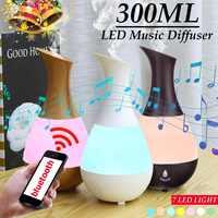 300ML ลำโพงบลูทูธ USB Humidifier เครื่องฟอกอากาศน้ำมันหอมระเหย Aroma Diffuser 7 สีเปลี่ยนไฟ LED Night Light