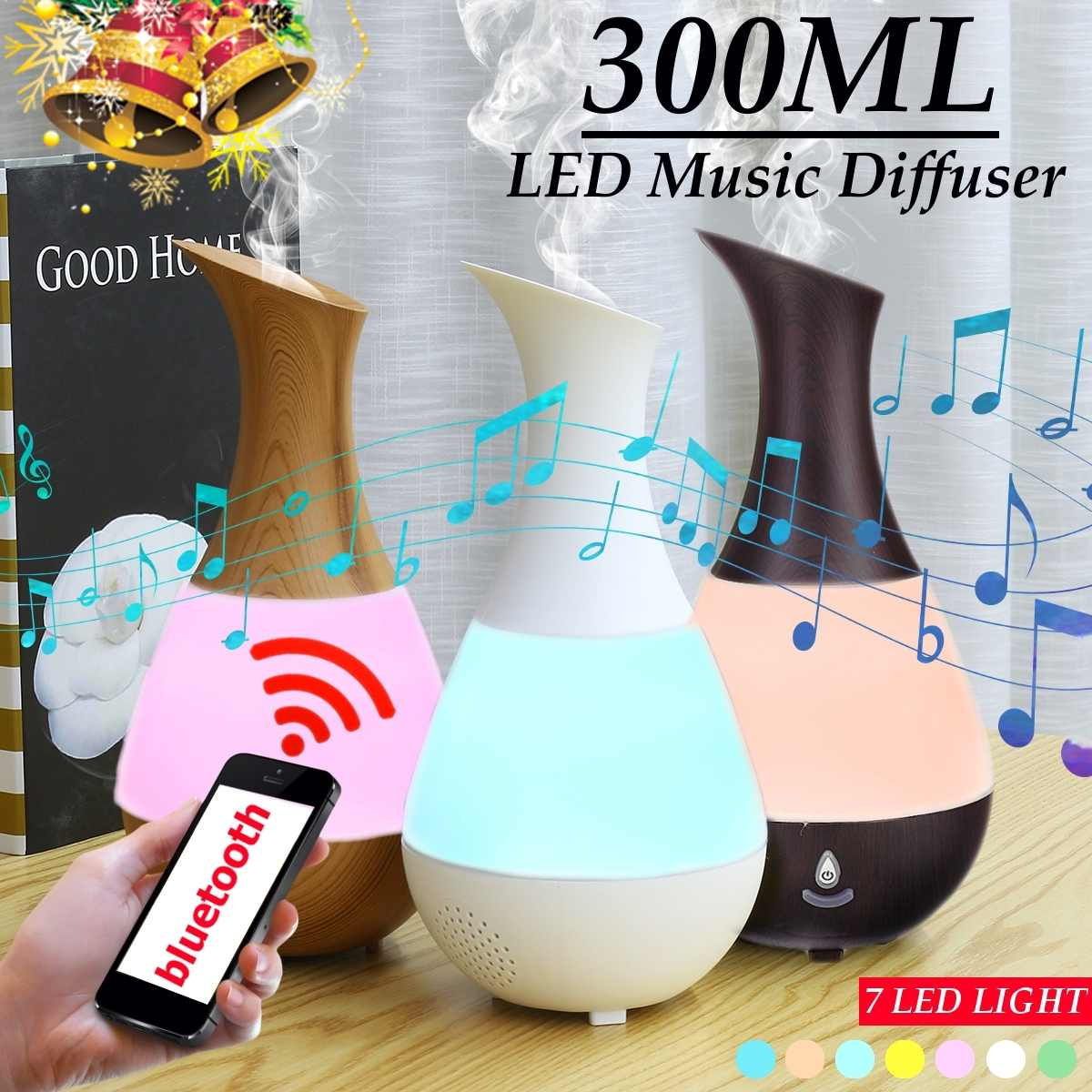 300ML Bluetooth Speaker  USB Humidifier Air Purifier Essential Oil Aroma Diffuser 7 Color Change LED Night Light