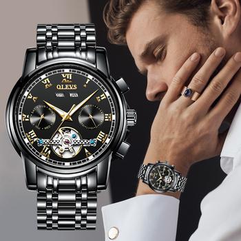 OLEVS moda męskie mechaniczne zegarki automatyczne Top marka luksusowe zegarki mężczyźni codzienne zegarki ze stali zegarki wodoodporne tanie i dobre opinie DCelio 3Bar CN (pochodzenie) Przycisk ukryte zapięcie Luxury ru Automatyczne self-wiatr 21cm STAINLESS STEEL Auto data