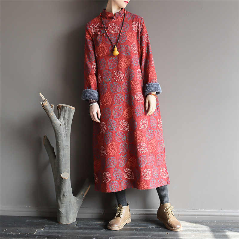 Johnature Stile Cinese di Spessore Vestaglie Biancheria di Cotone Stampa Floreale Delle Donne del Vestito di Inverno Panni Del Basamento A Maniche Lunghe Caldo Abiti Vintage