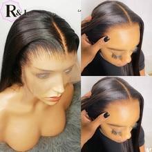 RULINDA dantel ön İnsan saç peruk ön koparıp düz brezilyalı Remy saç dantel peruk 180% yoğunluk orta kısmı