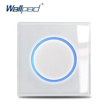 Wallpad-Interruptor de luz de pared de 1, 2, 3 y 4 entradas, luz de paso de cristal blanco de 1 vía y 2 vías, cortina de impulso, círculo momentáneo, indicador LED