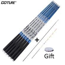 Goture zealot vara de pesca telescópica fibra de carbono 24t + 30t 2.7 7.5m carpa vara de pesca 2/8 ação mão dura pólo fluxo alimentador haste