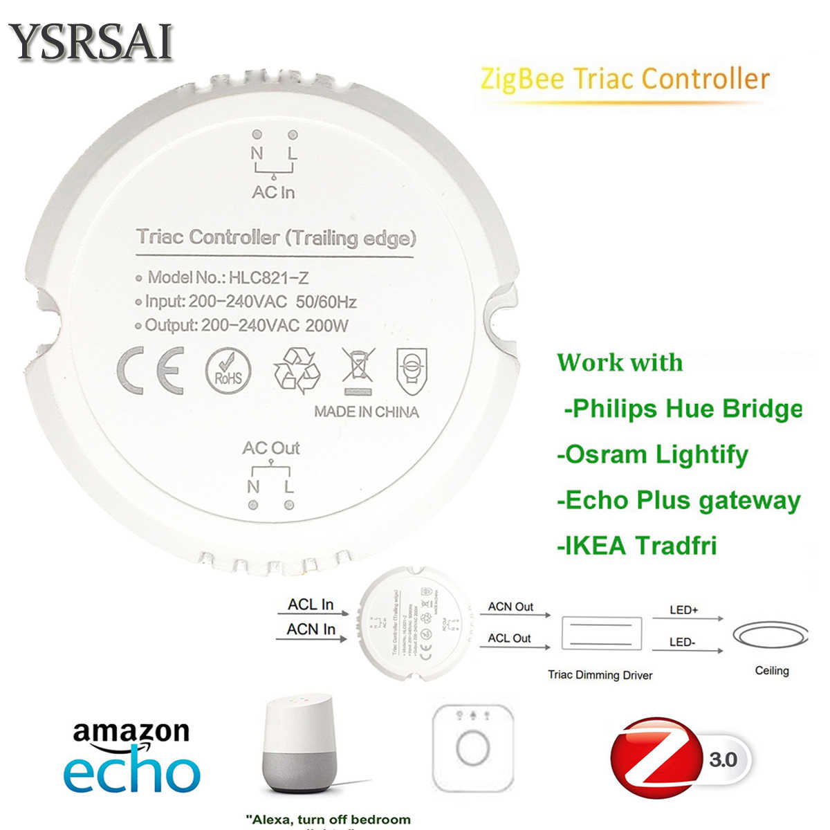 Regulador de luz inteligente ZigBee ZLL 3,0 200W Triac regulador de luz inteligente hogar modificado interruptor con Hue Bridge Echo Plus Alexa App de Control