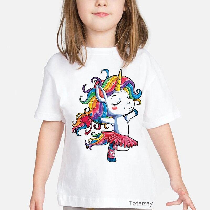 Балетная танцевальная футболка с единорогом детская футболка для девочек Радужная балерина подарки для вечерние футболки кавайная детска...