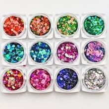 12 коробок лак Хамелеон блестки ab цвет смешанный размер шестигранные