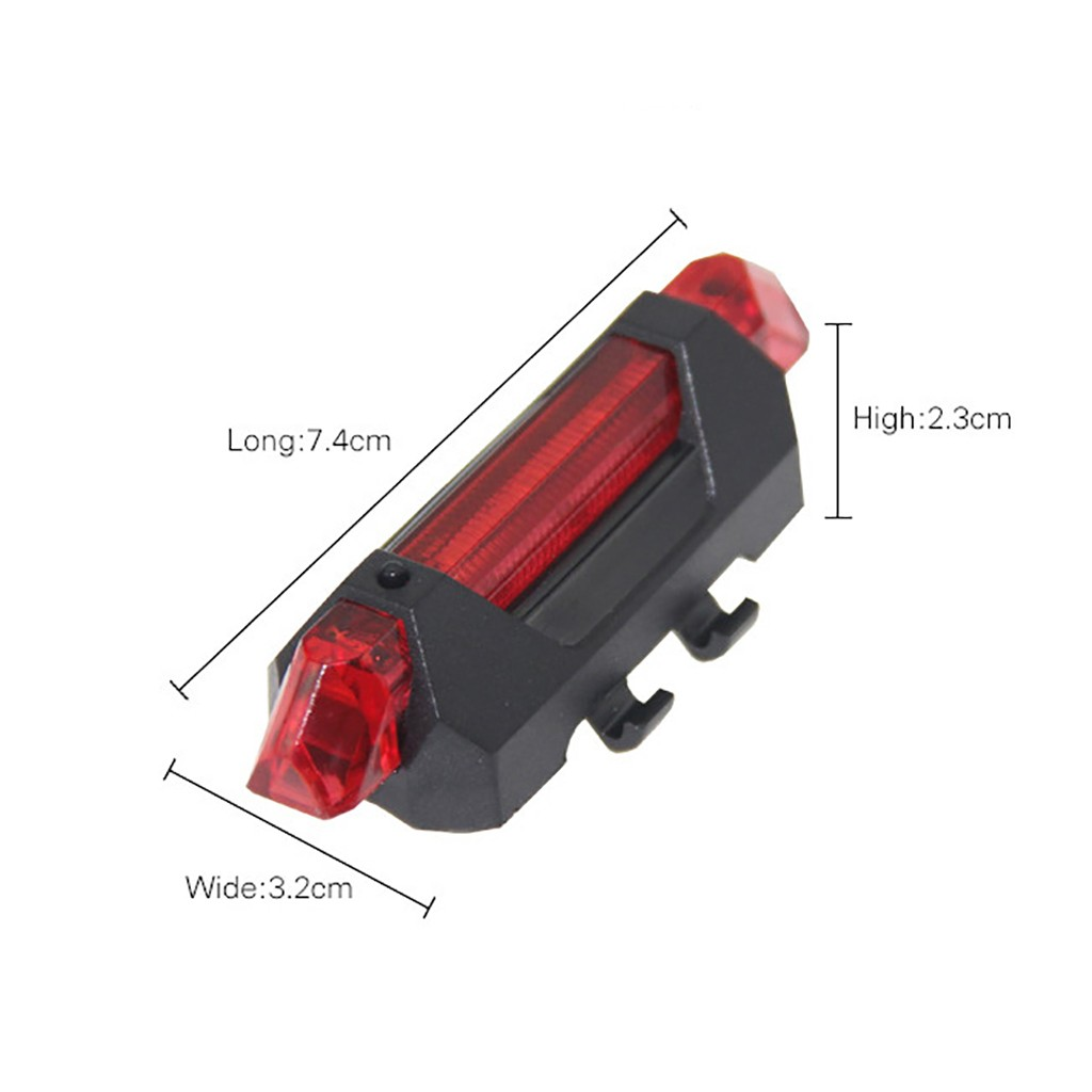 2X USB Bike Rear Tail Light LED Bicycle Warning Safety Rechargeable Lamp 4Modes