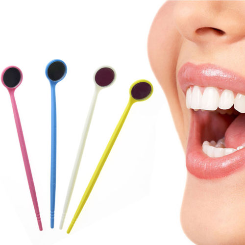 100pcs Dental Disposable Mouth Exam Mirrors Plastic Dental Instrument