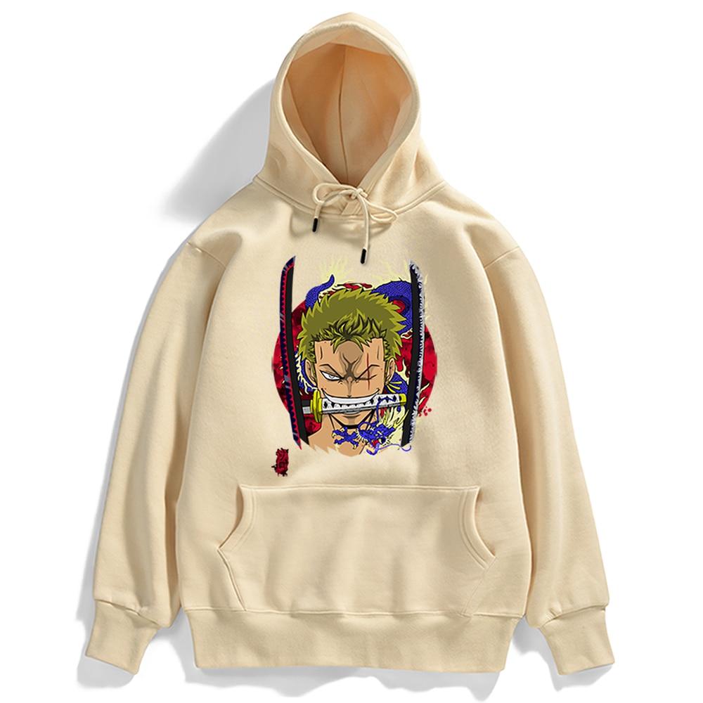 Pullover Japan Anime ONE PIECE Clothes Roronoa Zoro Cartoon Print Male Hoodie Vintage Punk Hoodies Hip Hop Loose Sweatshirt Mens