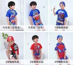 Новая стильная детская одежда для купания плавки для мальчиков цельная Милая одежда для плавания с шапкой для плавания