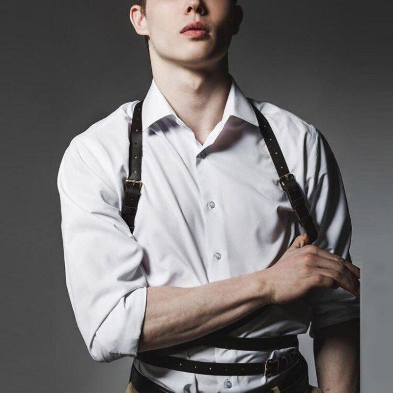 Men High Quality Genuine Leather Belt Luxury Designer Belts Punk Goth Chest Strap Male Adjustable Body Harness Bondage Belts