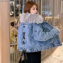 2019 Mulheres de Inverno Denim Jacket Faux Fur Collar Chic Ladies Coats Big Bolso Além de Veludo Jaqueta Jeans Lace Up Bow outerwear solto