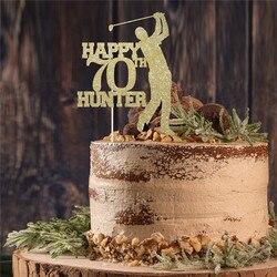Персонализированный Топпер для торта на день рождения с именем и возрастом/Декор для темативечерние НКИ для гольфа/украшение для дня рожде...