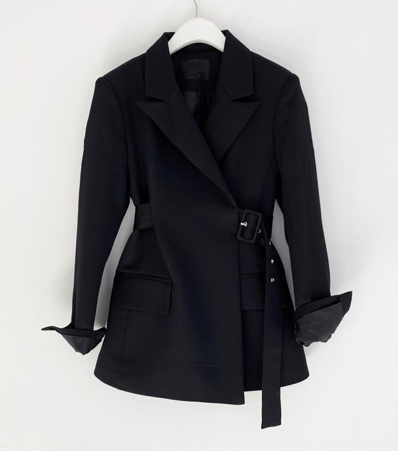 2019 New Fashion Women Slim Autumn Black Blazer Jackets Female Retro Suits Coat Feminino OL Blazers Outerwear Sashes WB28