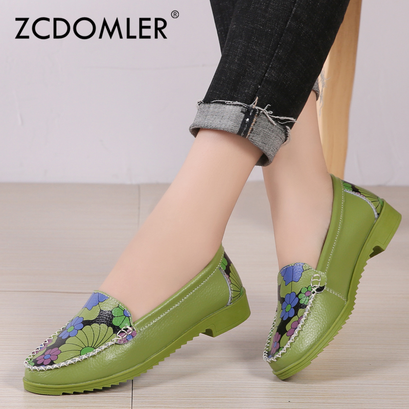 ZCDOMLER 2019 New Flat Shoes Women Mocasines Floral Printing Loafers Genuine Leather Ballet Flats Slip On Ladies Ballerina Shoes