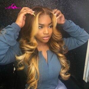 Ali Coco #4/27, яркие цветные человеческие волосы, парики, предварительно выщипанные кружевные передние человеческие волосы, парики, Омбре, Remy, об...