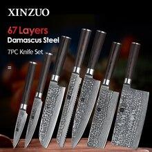 Xinzuo 7 pçs conjunto de facas de cozinha aço inoxidável lâminas damasco vg10 chef faca define santoku utilitário aparar ferramentas cozinha