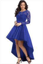 Prom Party round neck long sleeve lace swallow tail satin dress fashion irregular hem dress(China)