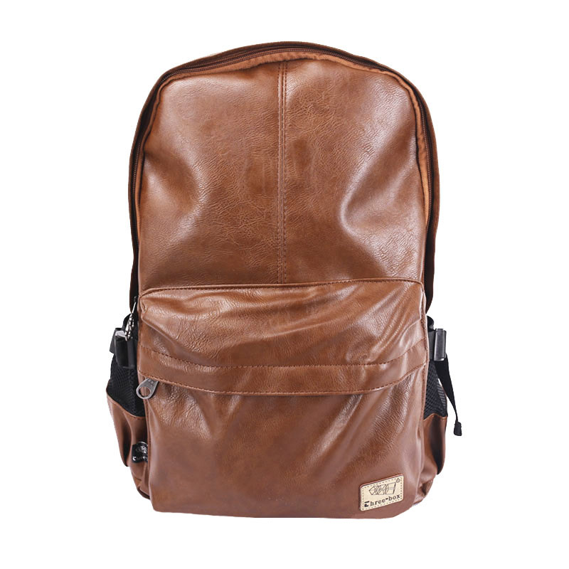 Three-Box Brand Men <font><b>Backpacks</b></font> 2020 PU Leather Large Male <font><b>15</b></font> Inch <font><b>Laptop</b></font> Bags <font><b>Women</b></font> Teenagers Student Mochila Female 3527 image