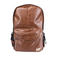Three-Box Brand Men Backpacks 2020 PU Leather Large Male 15 Inch Laptop