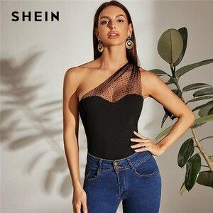 SHEIN Black One Shoulder Dot Flocked Mesh Yoke Top Women Summer Slim Fit Vest Sleeveless Elegant Solid Ladies Tops
