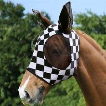 Anti-mosquito cavalo máscara anti-mosca malha ajustável cavalo voando máscara conforto respirável equestre suprimentos cavalo máscaras