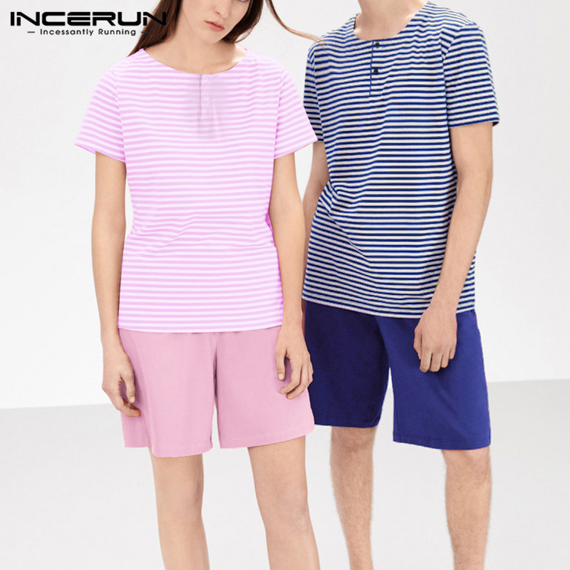 INCERUN Fashion Couple Pajamas Sets Short Sleeve Striped Tops Solid Shorts Men Homewear Soft Loose Nightgown Women Sleepwear Set