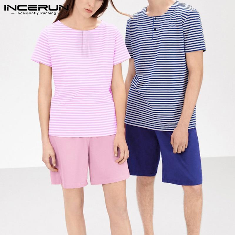 INCERUN Fashion Couple Pajamas Sets Short Sleeve Striped Tops Solid Shorts Men Homewear Soft Loose Nightgown Women Sleepwear Set