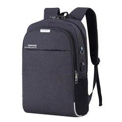 Hommes USB charge sac à dos pour ordinateur portable affaires Anti-vol voyage sac à dos unisexe étanche sac à dos bureau ordinateur portable sac d'école noir