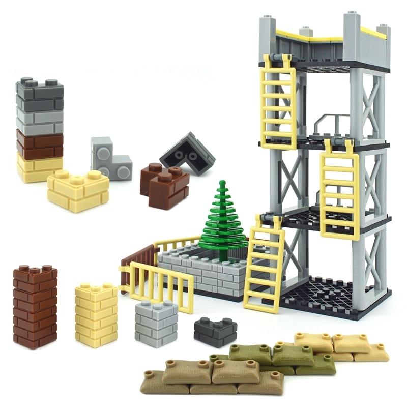 Военные детали MOC строительные блоки толстые стены классические кирпичики город аксессуары песочные мешки лестницы DIY забор 98283 15533 6020