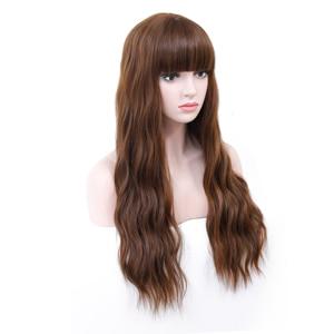 Image 3 - COSYCODE brązowa peruka z grzywką długie faliste peruka z lokami naturalne fale 26 cali bez koronki syntetyczna Cosplay peruka damska impreza przebierana