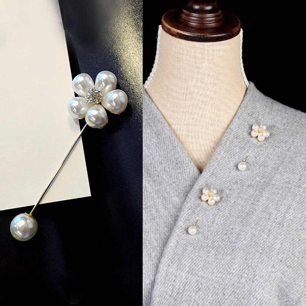 1Pcs Korean Flower Brooch Shell Pearl Rhinestone Brooches Women Suit Sweater Coat Shirt Scarf Clip Badge Pin Jewelry Gifts
