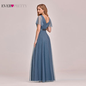 Image 2 - Plus Size Blue Prom Dress 2020 Ever Pretty EP07962 Elegant V Neck Tulle Women Sexy Long Prom Dresses Formal Summer Party Gowns