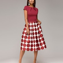2019 Summer Fashion Women Dress Elegant Dot Print Dress Ladies O Neck Short Sleeve Vintage Knee-Length Patchwork A Line Dress