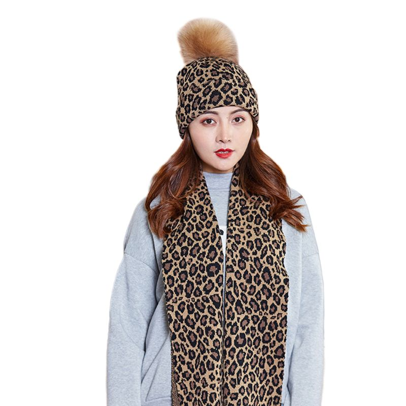 Women Scarf Hat 2Pcs Set Leopard Print Knitted Cuffed Beanie Cap With Long Wraps C6UD