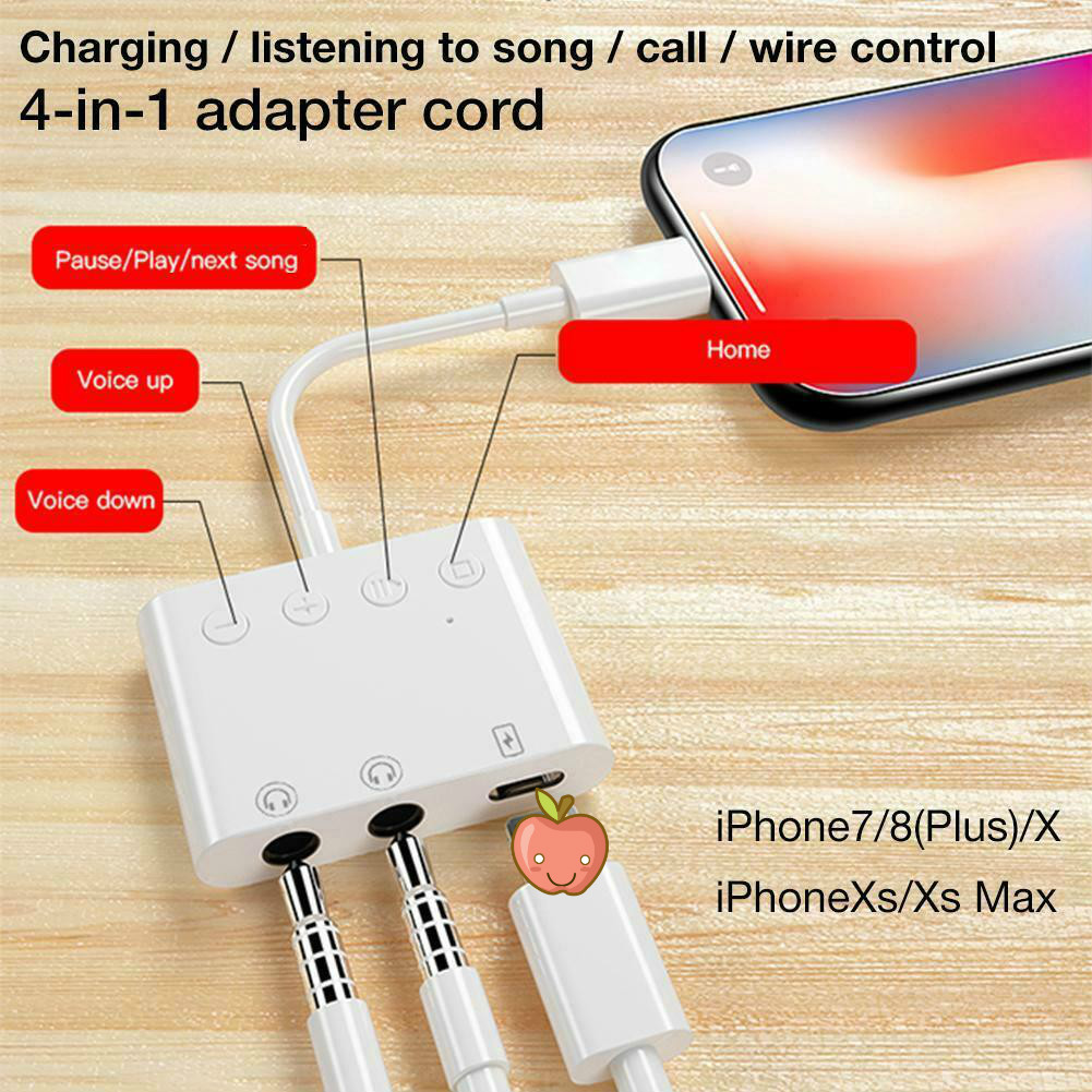 Suitable For Iphone 3-in-1 Adapter, Lightning To 3.5mm Adapter Double 3.5 Holes