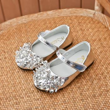 Children Girl Princess Leather Shoes Girls Rhinestone Flat Dress Party Shoes Kids Girls Bling Dance Shoes 2019 bling kids girls wedding dress shoes children princess shoes bowtie purple leather shoes for girls casual shoes flat