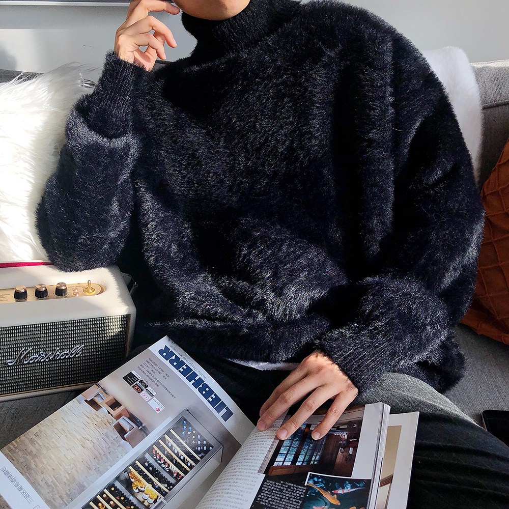 Chic Mens Soft Mohair Faux Fur High Neck Sweater Casual Loose Pullover Tops Black White Warm Male Sweaters K1