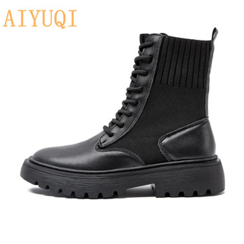 AIYUQI, zapatos para mujer, botas de piel auténtica, novedad Otoño Invierno 2020, calcetines para mujer, botas a la moda de alta calidad, botines planos para mujer